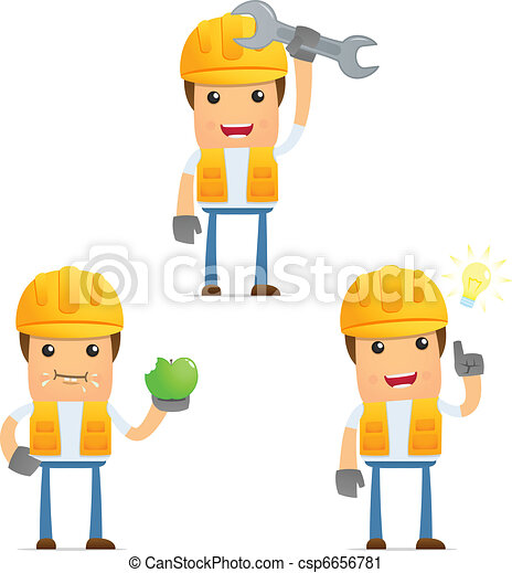 set of funny cartoon builder - csp6656781