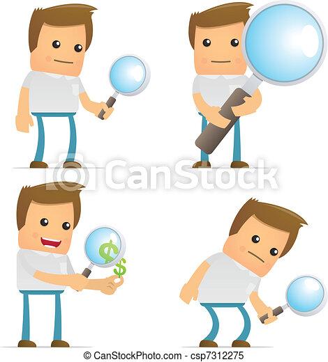 set of funny cartoon casual man - csp7312275