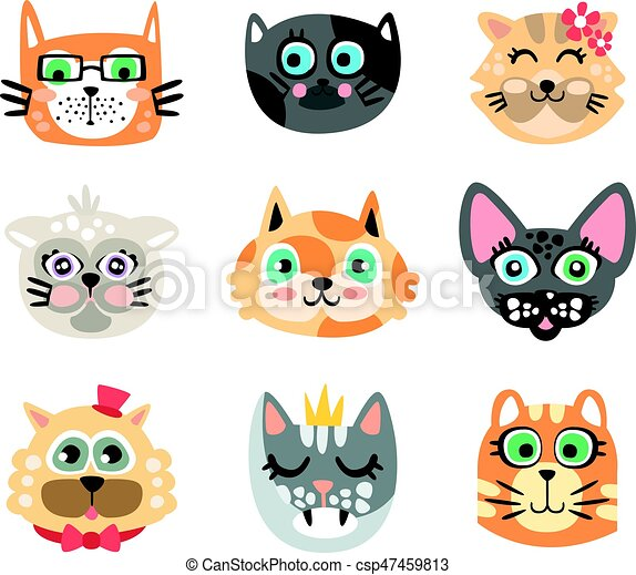 Set Of Funny Cartoon Cats Heads Cats Different Breeds Colorful