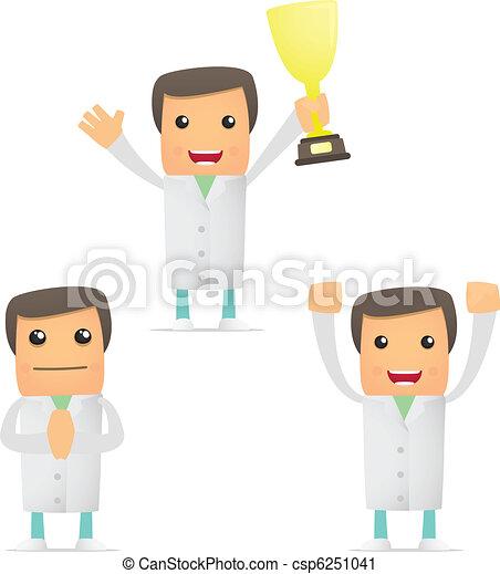 set of funny cartoon doctor - csp6251041