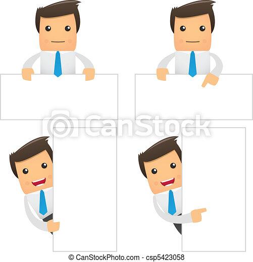 set of funny cartoon office worker - csp5423058