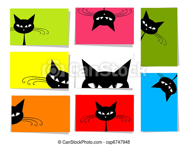 Set of funny cats, 10 cards for your design with place for your text - csp6747948