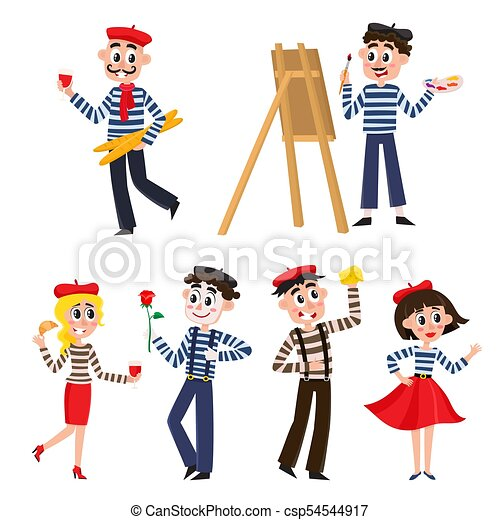 set of funny french people mimes artist food set of funny rh canstockphoto com French Icons Clip Art French Person Cartoon