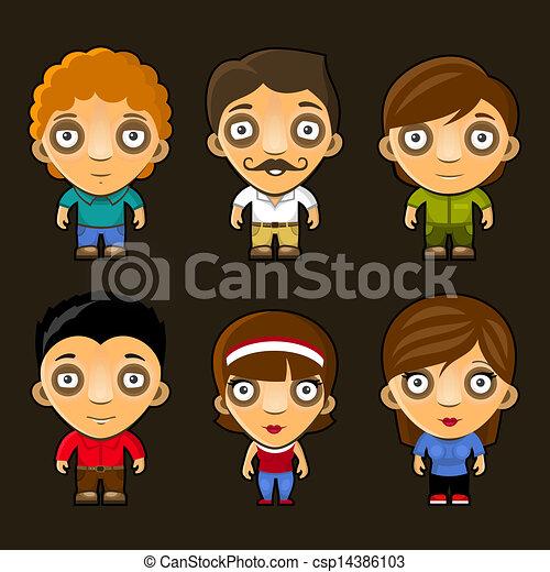 Set of funny people. Cartoon vector characters. - csp14386103