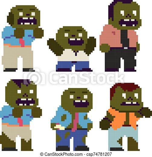 Set of funny pixel characters - csp74781207