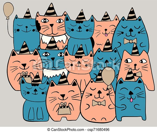 Set of funny stylized cats. Birthday party celebration. Blue and orange color. Hand drawn doodle vector illustration. - csp71680496