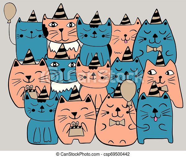 Set of funny stylized cats. Birthday party celebration. Blue and orange color. Hand drawn doodle vector illustration. - csp69500442