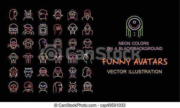 Set of Funny vector avatars