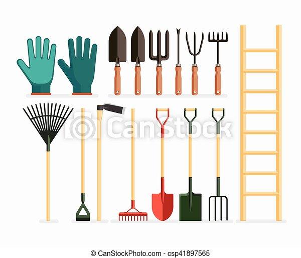 Set of garden tools and gardening items. Vector illustration flat design. - csp41897565