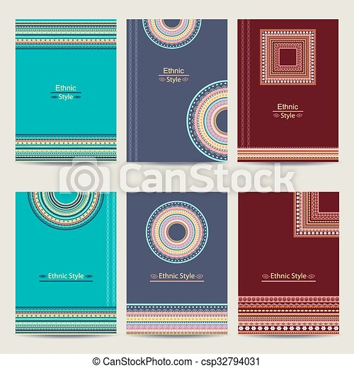 set of geometric abstract colorful brochure templates stylish ethnic vector backgrounds - Colorful Brochure Templates