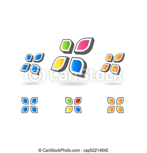 set of geometric multicolor bubble shapes business signs symbols