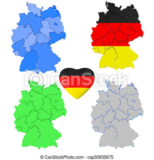 Map Of Germany 3d.Set Of Germany 3d Map And Heart Set Of Germany 3d Map With Heart
