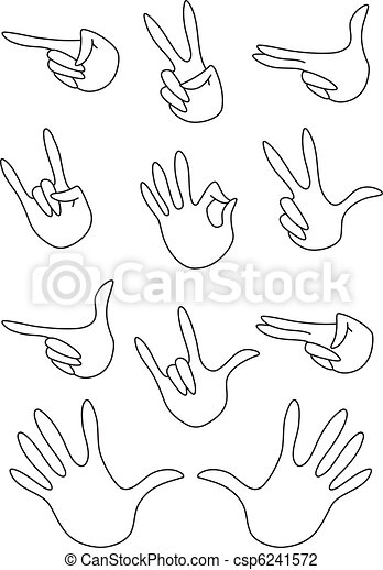 set of gestures outlined - csp6241572
