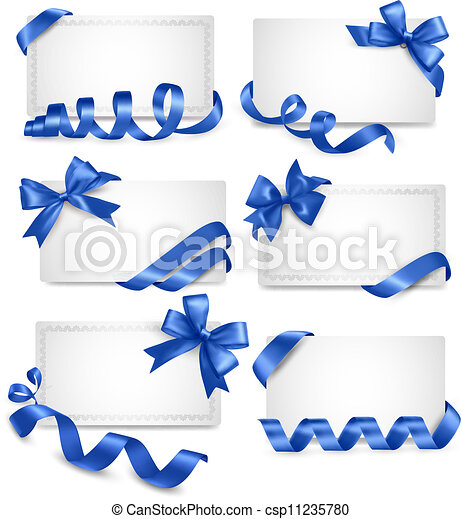 Set of gift card notes with blue bows with ribbons Vector - csp11235780