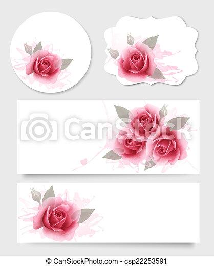 Set of gift cards and banners with beautiful flowers. Vector. - csp22253591