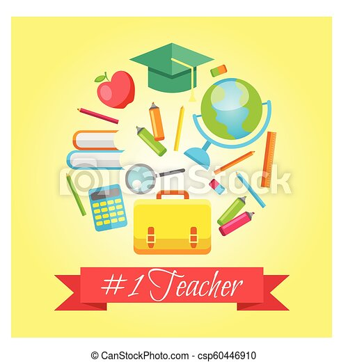 Set Of Gift Cards For Teachers Day Vector Illustrations Collection