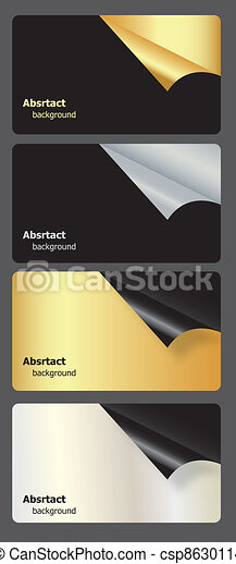 Set of gift cards with rolled corners. vector illustration - csp8630114