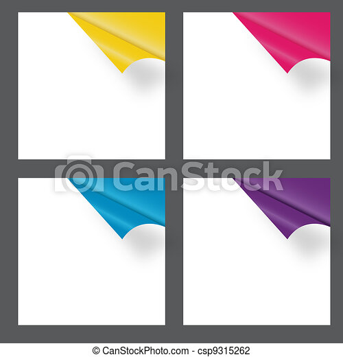 Set of gift cards with rolled corners. vector illustration - csp9315262