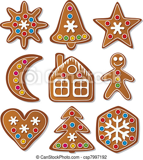 set of gingerbread cookies - csp7997192
