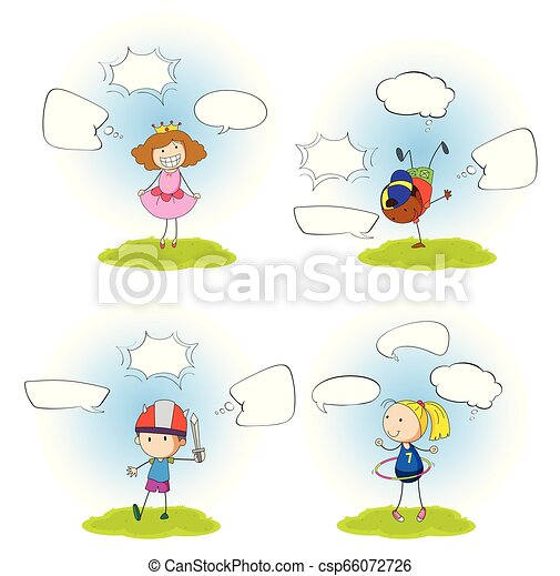 Set of girl with speech bubble - csp66072726