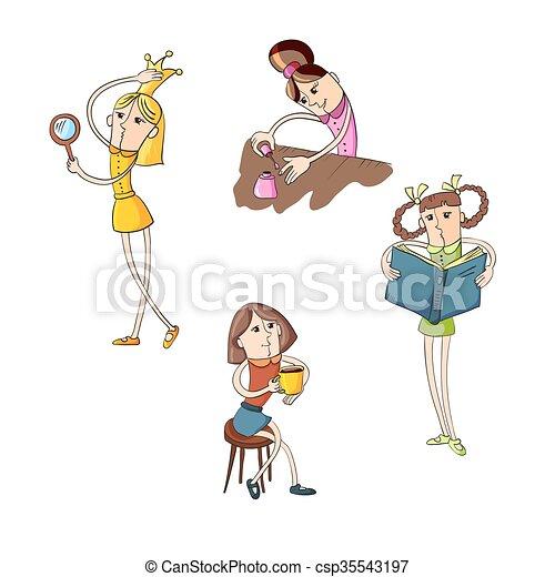 set of girls doing beauty, flat color fnd outline - csp35543197