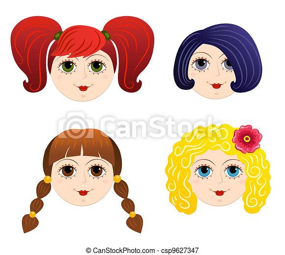 set of girls faces 2 cartoon vector illustration