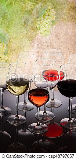 Set of glasses with wine - csp48797057
