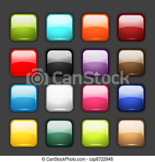 Set of glossy button icons for your design - csp8722948