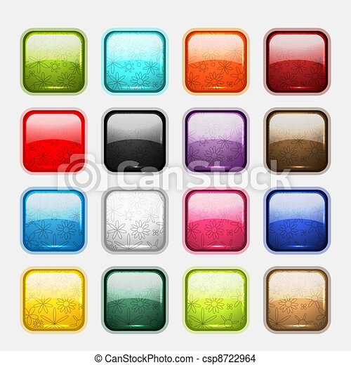 Set of glossy button icons for your design - csp8722964