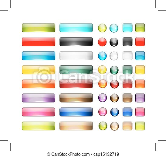 Set of glossy button icons for your design - csp15132719