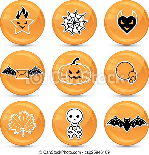 Set of glossy vector Halloween icons for your design - csp25946109