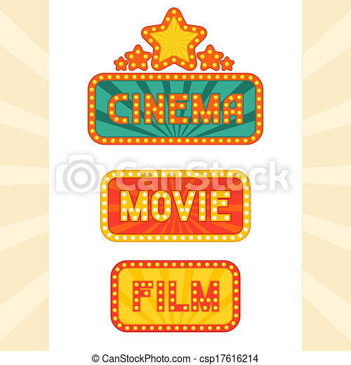 Set of glowing retro cinema neon signs. - csp17616214
