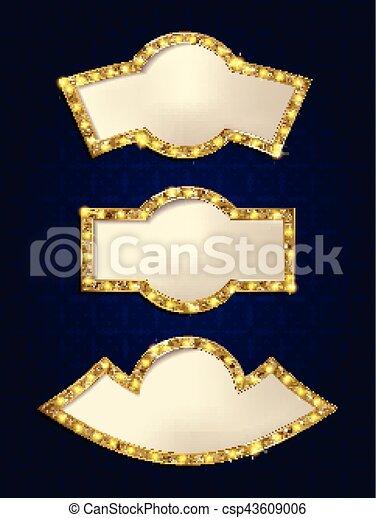 Set of glowing retro frames - csp43609006