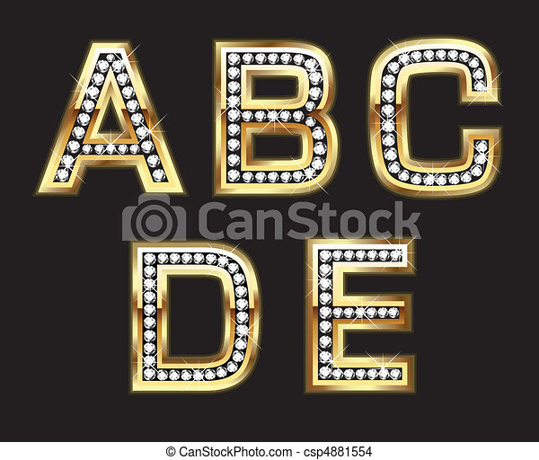 Set of gold and diamond letters - csp4881554