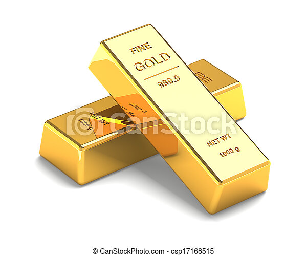 Set of Gold bars Isolated on the White Background - csp17168515