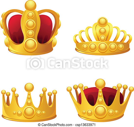 Set of gold crowns isolated. - csp13633971