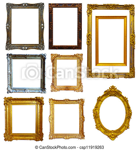 Set of gold picture frame - csp11919263