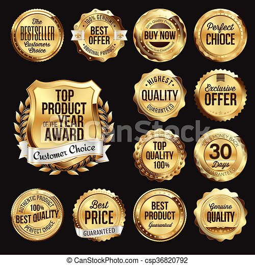 Set of  Gold Retail Badges - csp36820792
