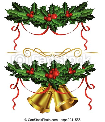Set of golden Christmas bells with holly - csp40941555