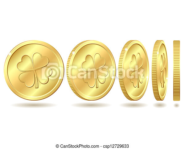 Set of golden coins with four leaf clover. - csp12729633