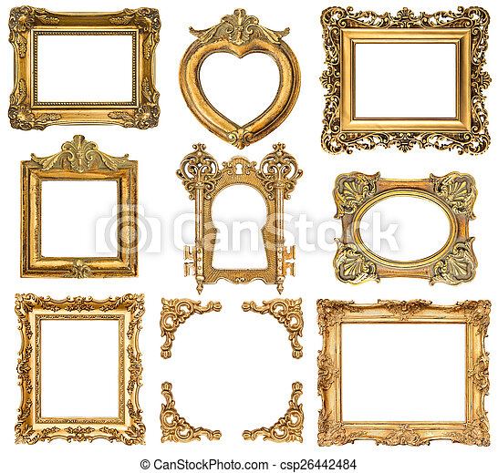 set of golden frames. baroque style antique objects - csp26442484