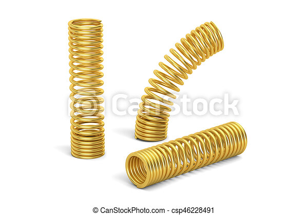 Set of golden helical coil springs, 3D rendering - csp46228491
