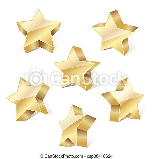 set of golden metallic stars on white background. vector illustration - csp38418624