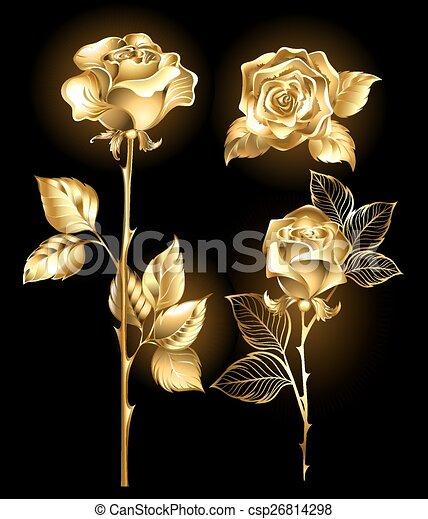 Set of golden roses - csp26814298