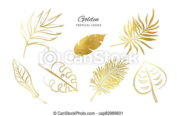 Set of Golden tropical leaves.Decoration elements for your design.Vector illustration - csp82989601