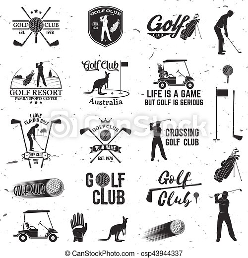 Set Of Golf Club Concept With Golfer Silhouette Set Of Golf Club