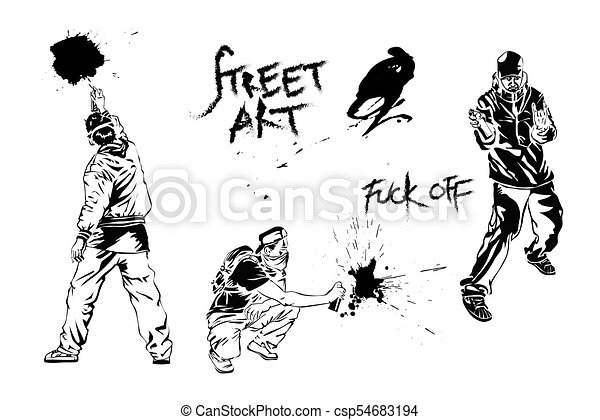 Set of graffiti art. Artists, signs and splashes. Collection street art elements. Vector illustration. - csp54683194
