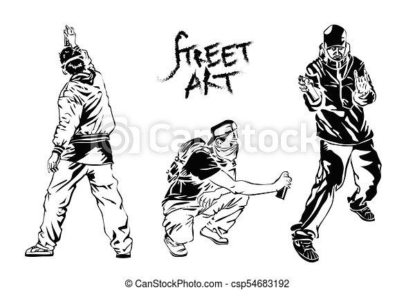Set of graffiti artists. Collection street art elements. Vector illustration. - csp54683192