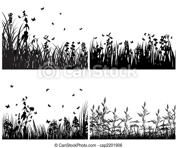 set of grass silhouettes - csp2201906