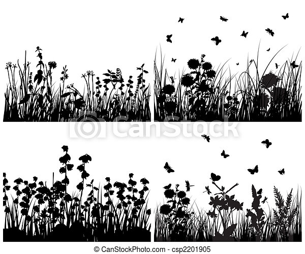 set of grass silhouettes - csp2201905
